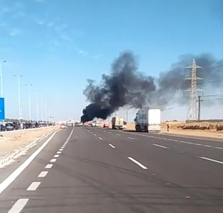 انفجار سيارة محملة باسطوانات غاز على «الإسماعيلية الصحراوي»