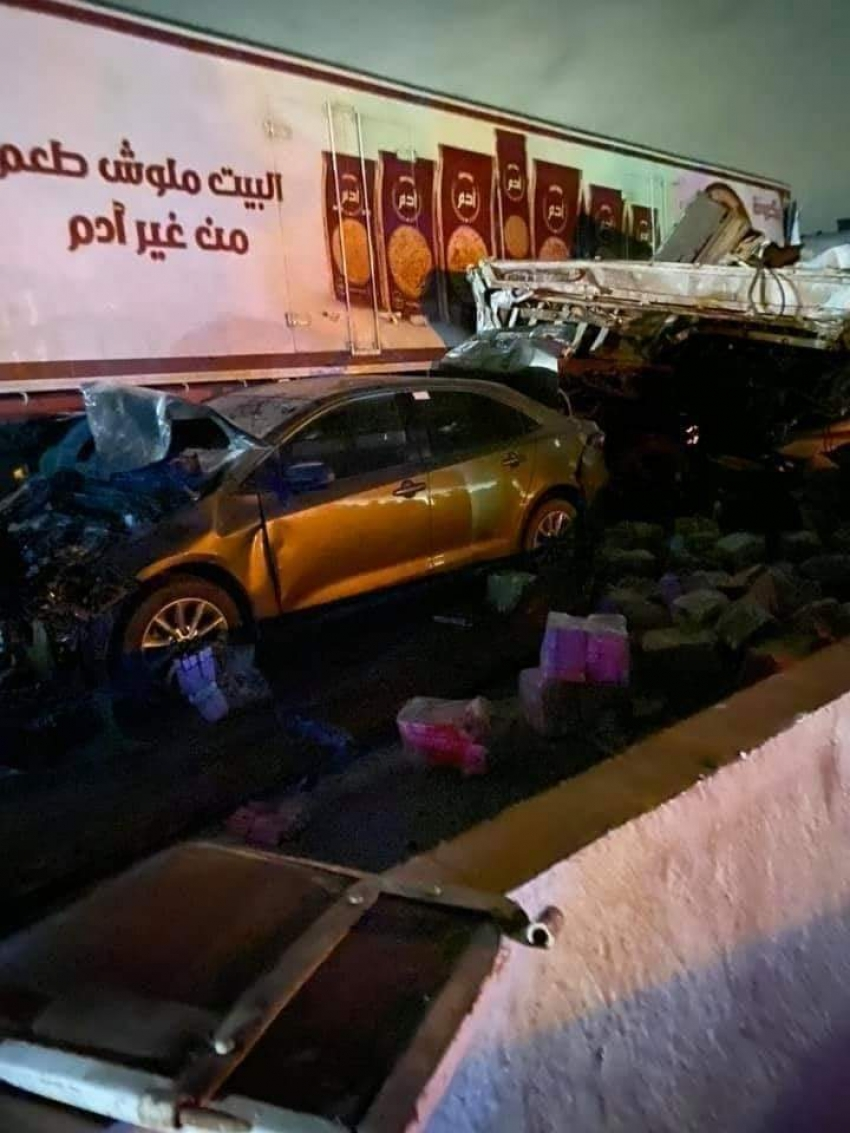 حادث مروع:وفاة ١٥ شخص و إصابة ٩ أخرين فى تصادم 9 سيارات بطريق السخنة _الكريمات
