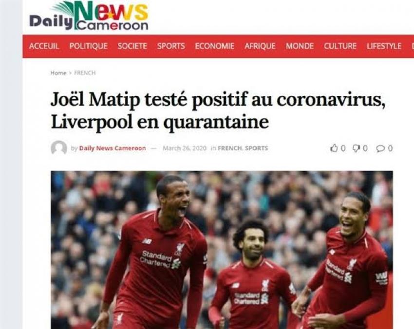 صحيفة كاميرونية تعلن إصابة مدافع ليفربول بفيروس كورونا