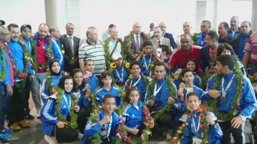 وصول بعثة منتخب الفراعنة للكونغ فو للقاهرة بعد تحقيق انجاز كبير ببطولة العالم بالبرازيل