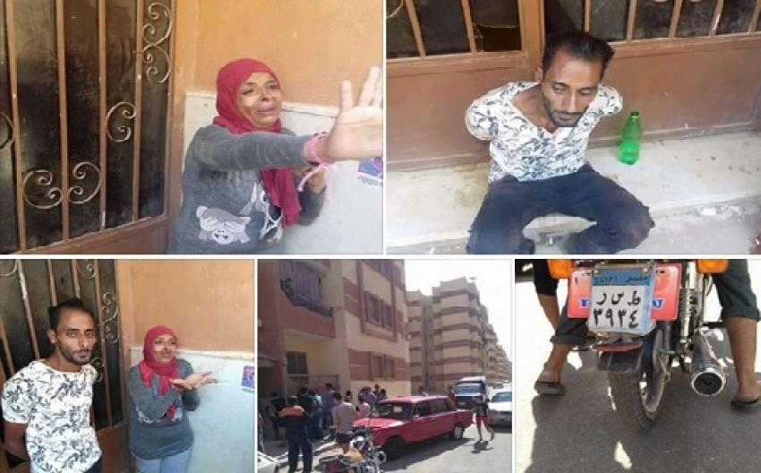 بالصور ..اهالى مدينة الملك عبد الله بالسويس يلقنون رجل وسيدة علقة ساخنة قبل تسليمهما للشرطة
